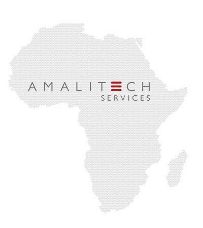 AmaliTech Services logo and a grey map of Africa. The logo is displayed in the middle of the African map