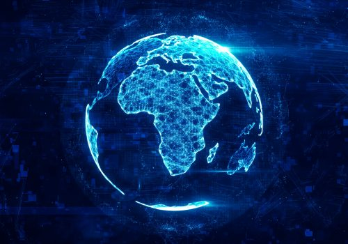 Blue digitally displayed globe, mainly showing Africa
