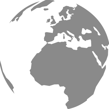 The globe in grey, mainly displaying Africa and Europe